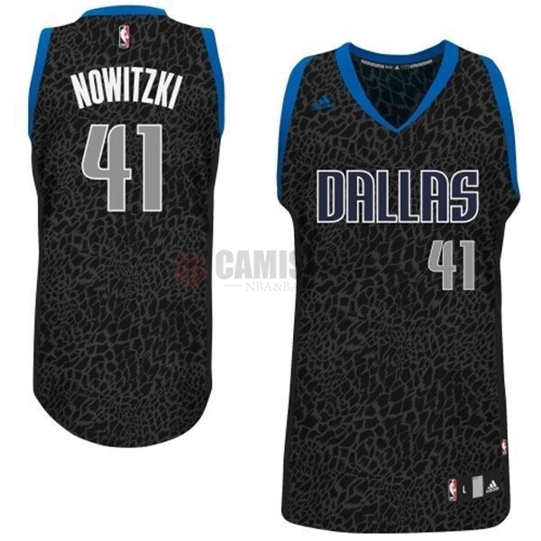Camisetas NBA Dallas Mavericks Luz Leopardo NO.41 Nowitzki Negro Barats