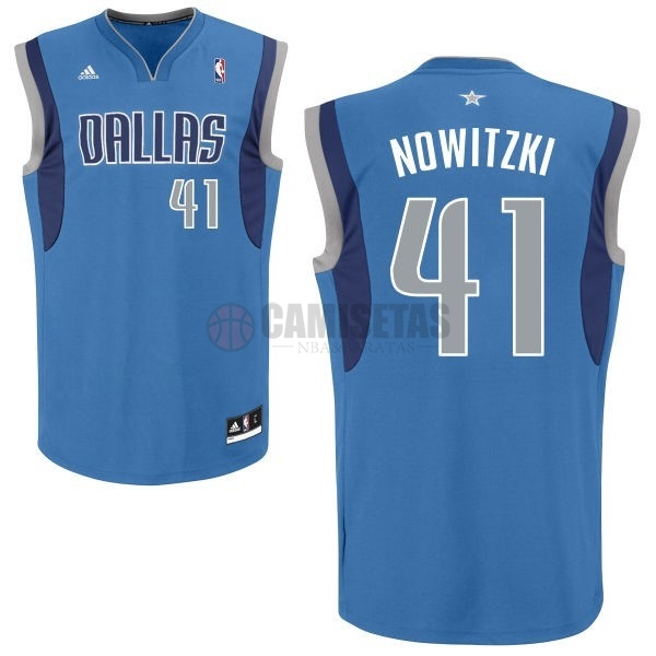 Camisetas NBA Dallas Mavericks NO.41 Dirk Nowitzki Azul Barats