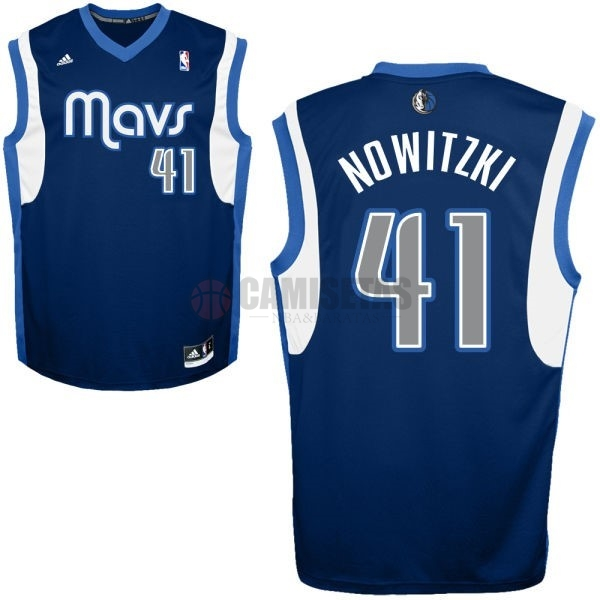 Camisetas NBA Dallas Mavericks NO.41 Dirk Nowitzki Azul Profundo Barats