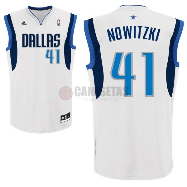 Camisetas NBA Dallas Mavericks NO.41 Dirk Nowitzki Blanco Barats