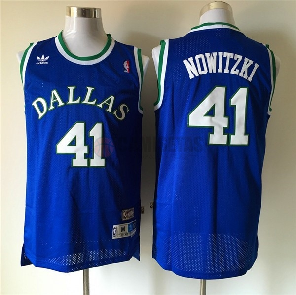 Camisetas NBA Dallas Mavericks NO.41 Dirk Nowitzki Retro Azul Barats