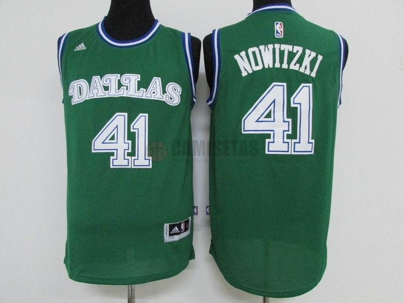 Camisetas NBA Dallas Mavericks NO.41 Dirk Nowitzki Verde Barats