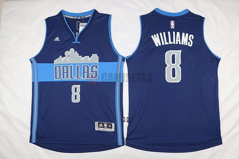 Camisetas NBA Dallas Mavericks NO.8 Deron Michael Williams Azul Profundo Barats