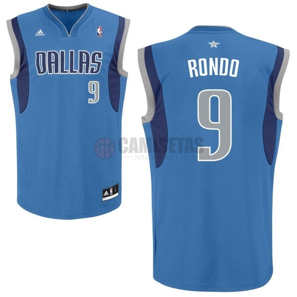 Camisetas NBA Dallas Mavericks NO.9 Rajon Rondo Azul Barats