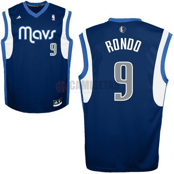 Camisetas NBA Dallas Mavericks NO.9 Rajon Rondo Azul Profundo Barats