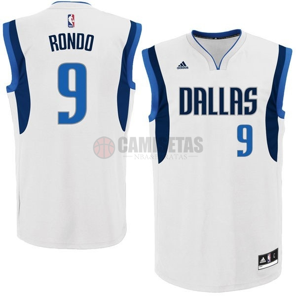 Camisetas NBA Dallas Mavericks NO.9 Rajon Rondo Blanco Barats