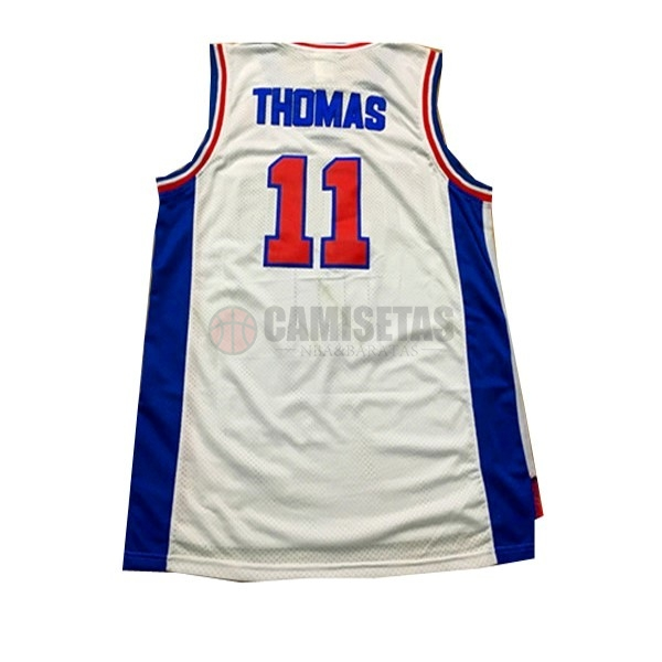 Camisetas NBA Detroit Pistons NO.11 Isiah Thomas Blanco Barats