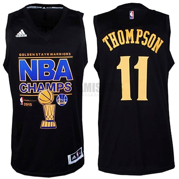 Camisetas NBA Golden State Warriors 2015 Campeones Finales NO.11 Thompson Negro Barats