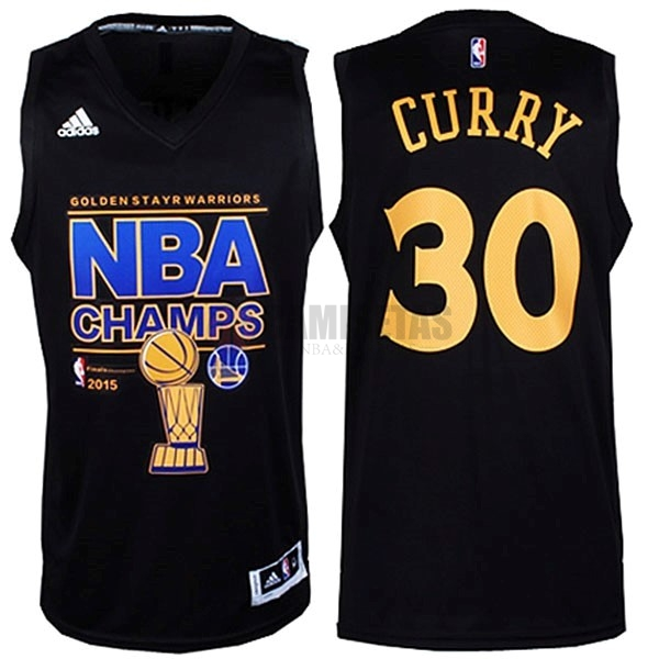 Camisetas NBA Golden State Warriors 2015 Campeones Finales NO.30 Curry Negro Barats