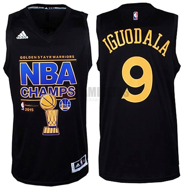 Camisetas NBA Golden State Warriors 2015 Campeones Finales NO.9 Iguodala Negro Barats