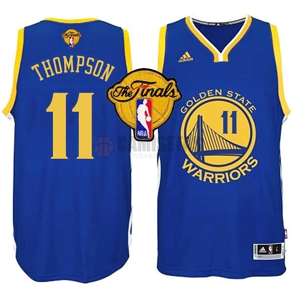 Camisetas NBA Golden State Warriors Finales NO.11 Thompson Azul Barats