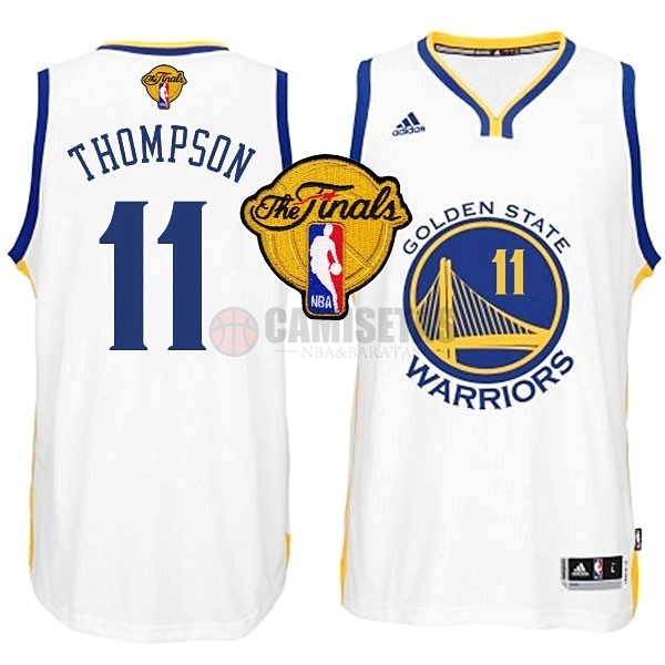 Camisetas NBA Golden State Warriors Finales NO.11 Thompson Blanco Barats