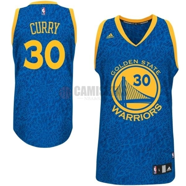 Camisetas NBA Golden State Warriors Luz Leopardo NO.30 Curry Azul Barats