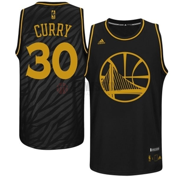 Camisetas NBA Golden State Warriors Metales Preciosos Moda NO.30 Curry Negro Barats