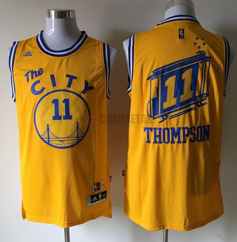 Camisetas NBA Golden State Warriors NO.11 Klay Thompson Amarillo Barats