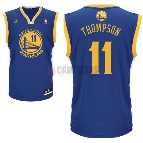 Camisetas NBA Golden State Warriors NO.11 Klay Thompson Azul Barats