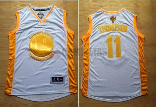 Camisetas NBA Golden State Warriors NO.11 Klay Thompson Oro Barats