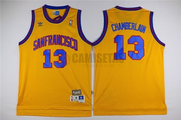 Camisetas NBA Golden State Warriors NO.13 Wilt Chamberlain Amarillo Barats