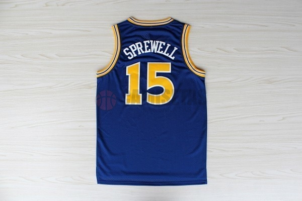 Camisetas NBA Golden State Warriors NO.15 Latrell Sprewell Azul Barats
