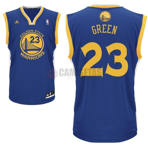 Camisetas NBA Golden State Warriors NO.23 Draymond Green Azul Barats