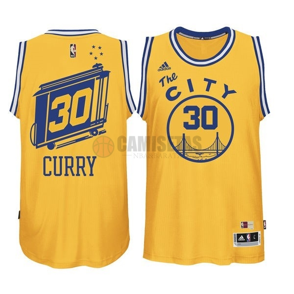 Camisetas NBA Golden State Warriors NO.30 Stephen Curry Amarillo Barats