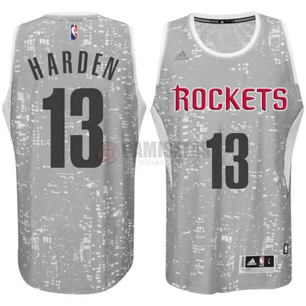Camisetas NBA Houston Rockets Luces Ciudad NO.13 Harden Gris Barats