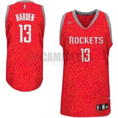 Camisetas NBA Houston Rockets Luz Leopardo NO.13 Harden Rojo Barats