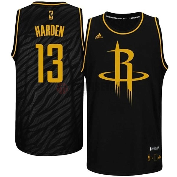 Camisetas NBA Houston Rockets Metales Preciosos Moda NO.13 Harden Negro Barats