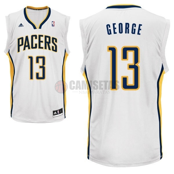 Camisetas NBA Indiana Pacers NO.13 Paul George Blanco Barats