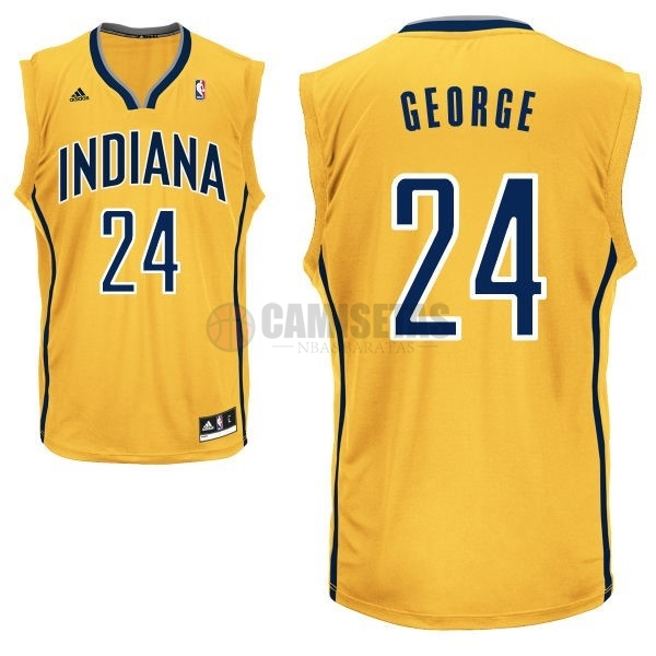 Camisetas NBA Indiana Pacers NO.24 Paul George Amarillo Barats