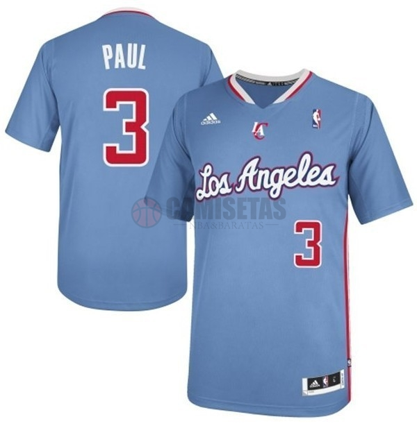 Camisetas NBA Los Angeles Clippers Manga Corta NO.3 Chris Paul Azul Barats
