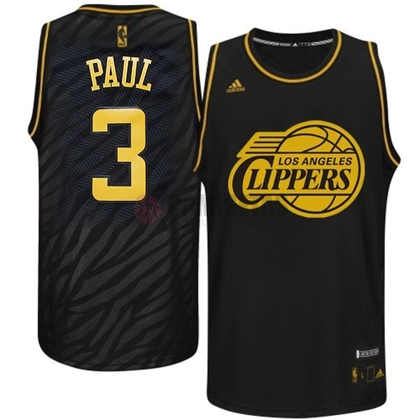 Camisetas NBA Los Angeles Clippers Metales Preciosos Moda NO.3 Paul Negro Barats