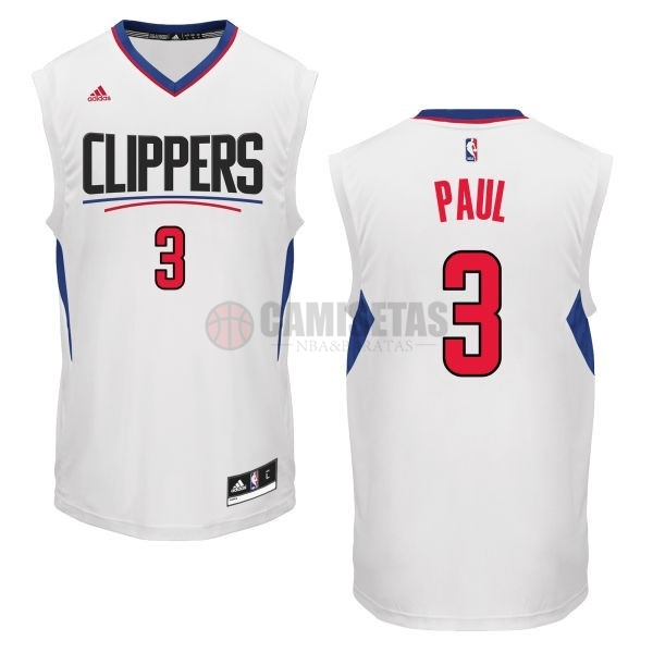 Camisetas NBA Los Angeles Clippers NO.3 Chris Paul Blanco Barats
