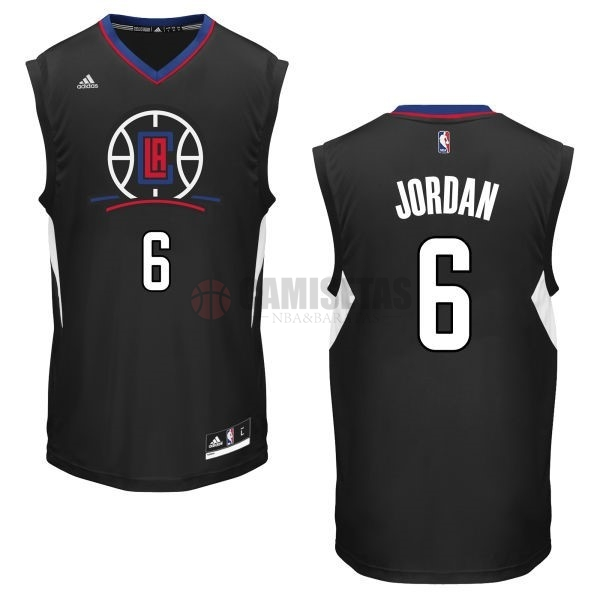 Camisetas NBA Los Angeles Clippers NO.6 DeAndre Jordan Negro Barats