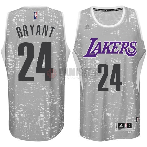 Camisetas NBA Los Angeles Lakers Luces Ciudad NO.24 Bryant Gris Barats