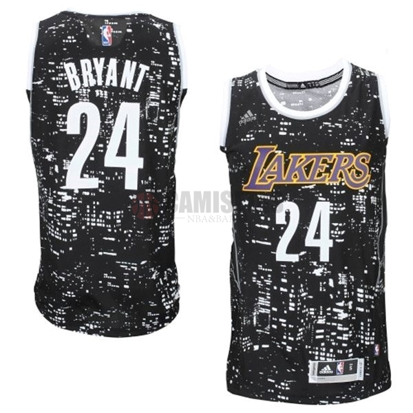 Camisetas NBA Los Angeles Lakers Luces Ciudad NO.24 Bryant Negro Barats