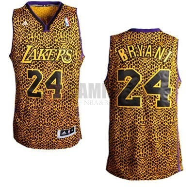Camisetas NBA Los Angeles Lakers Luz Leopardo NO.24 Bryant Dorado Barats