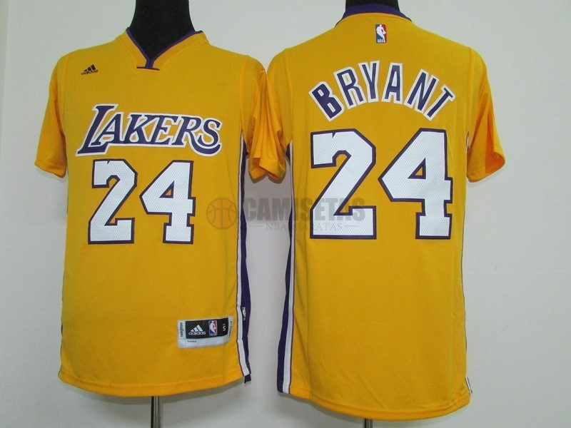Camisetas NBA Los Angeles Lakers Manga Corta NO.24 Kobe Bryant Amarillo Barats