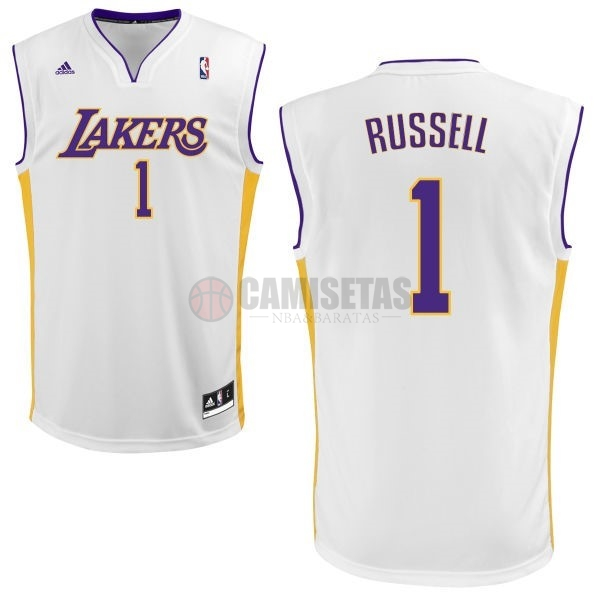 Camisetas NBA Los Angeles Lakers NO.1 D'Angelo Russell Blanco Barats
