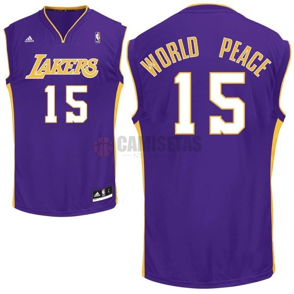 Camisetas NBA Los Angeles Lakers NO.15 Metta World Peace Púrpura Barats