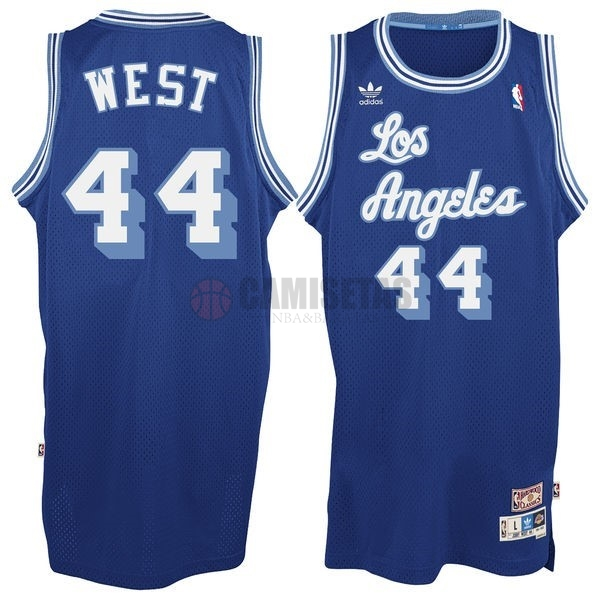 Camisetas NBA Los Angeles Lakers NO.44 Jerry West Azul Barats