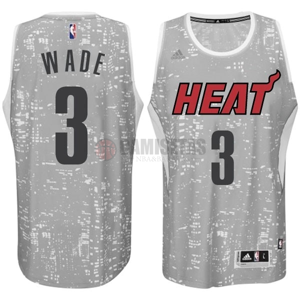 Camisetas NBA Miami Heat Luces Ciudad NO.3 Wade Gris Barats
