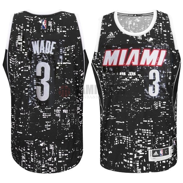 Camisetas NBA Miami Heat Luces Ciudad NO.3 Wade Negro Barats
