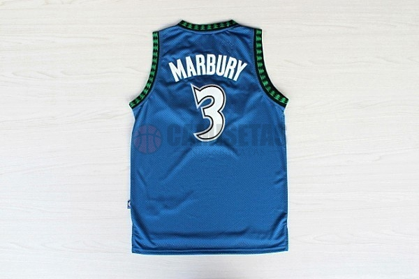 Camisetas NBA Minnesota Timberwolves NO.3 Stephon Marbury Retro Azul Barats