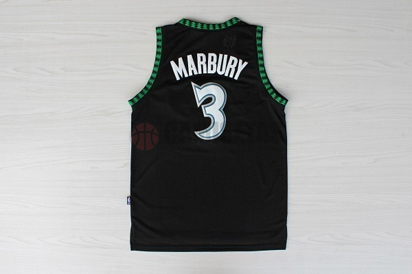 Camisetas NBA Minnesota Timberwolves NO.3 Stephon Marbury Retro Negro Barats