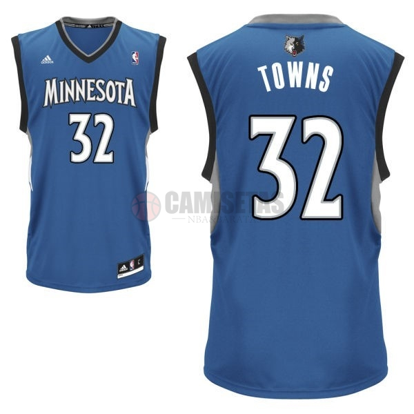 Camisetas NBA Minnesota Timberwolves NO.32 Karl Anthony Towns Azul Barats