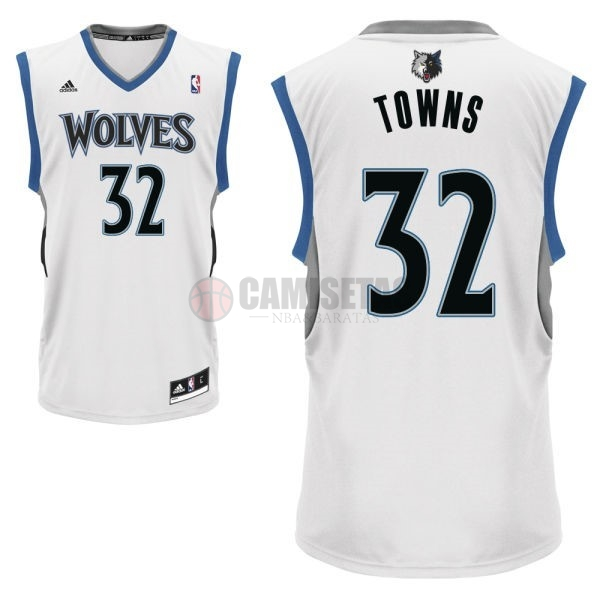 Camisetas NBA Minnesota Timberwolves NO.32 Karl Anthony Towns Blanco Barats