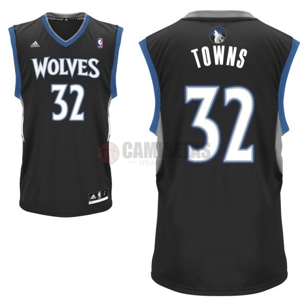 Camisetas NBA Minnesota Timberwolves NO.32 Karl Anthony Towns Negro Barats