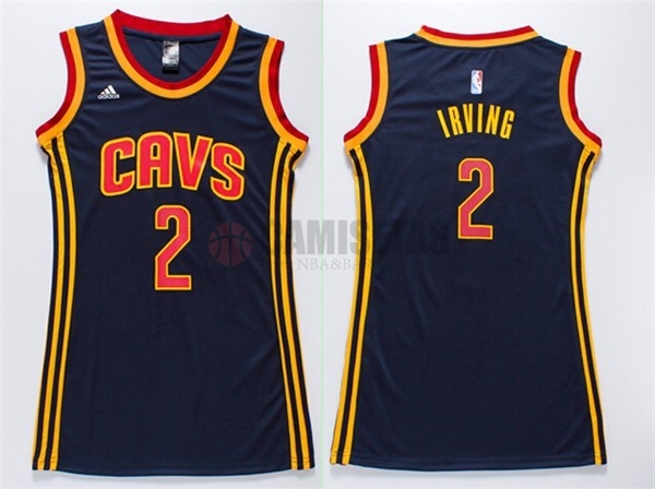 Camisetas NBA Mujer Cleveland Cavaliers NO.2 Kyrie Irving Azul Barats