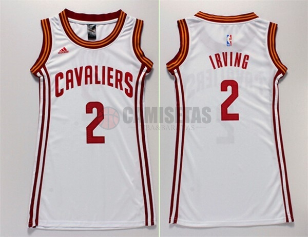 Camisetas NBA Mujer Cleveland Cavaliers NO.2 Kyrie Irving Blanco Barats